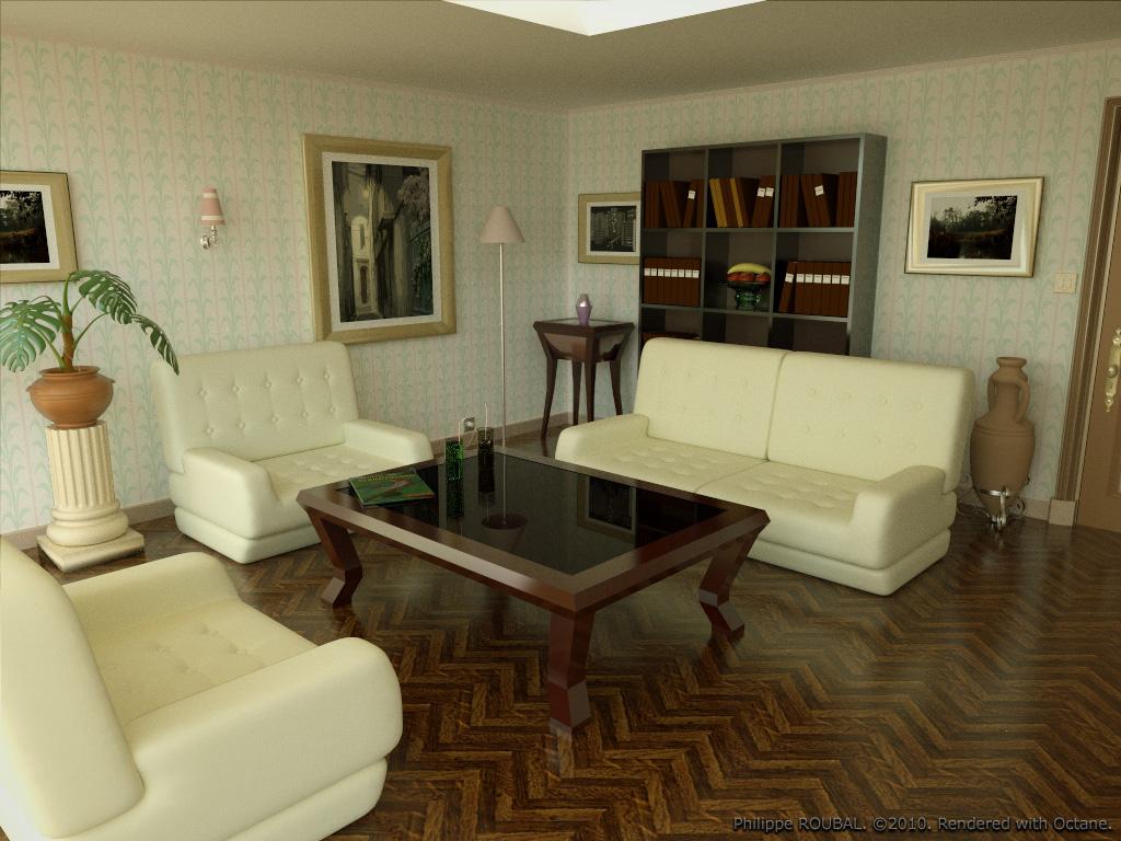 Living room octane indigo rendering tests copyright 2010 for Modele salon